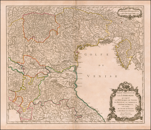 38-Northern Italy Map By Gilles Robert de Vaugondy