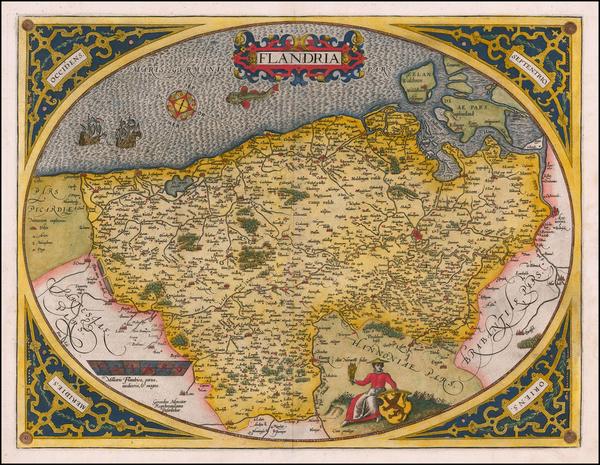 48-Belgium Map By Abraham Ortelius