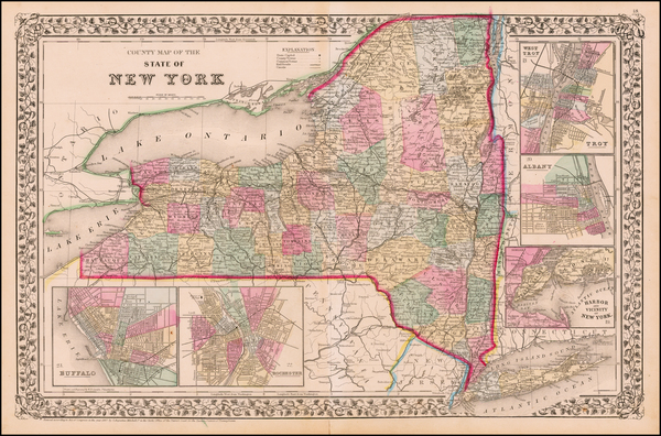 45-New York State Map By Samuel Augustus Mitchell Jr.