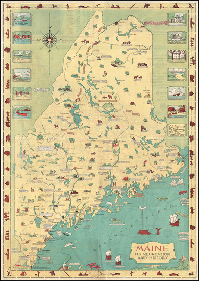 38-Maine and Pictorial Maps Map By Mellon C. Linscott