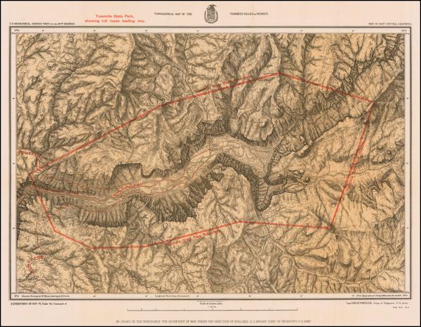 29-Yosemite Map By George M. Wheeler / U.S. Geographical Survey