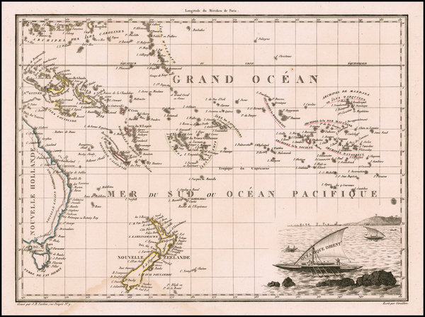 92-Oceania, New Zealand and Other Pacific Islands Map By Conrad Malte-Brun