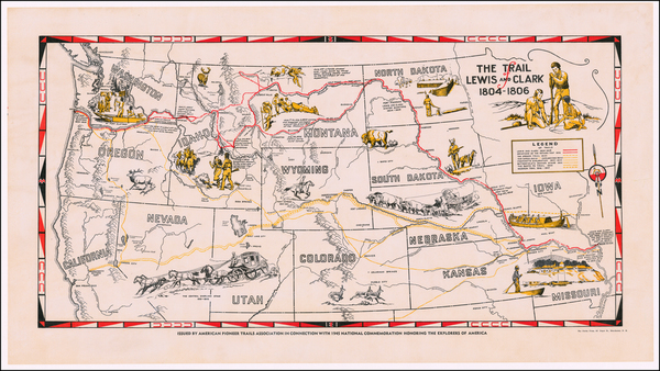 57-Plains, Southwest, Rocky Mountains, Oregon, Washington, Pictorial Maps and California Map By Am