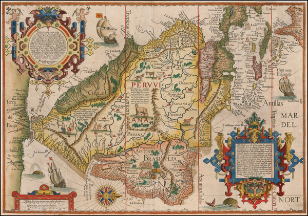 8-Polar Maps, Caribbean, Central America, South America, Brazil and America Map By Jan Huygen Van