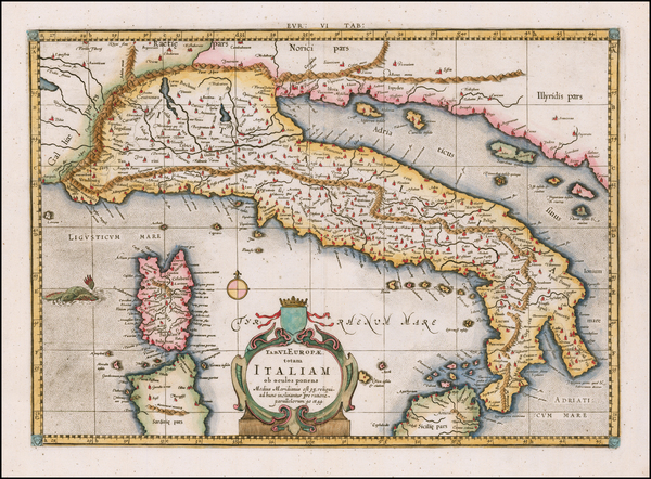 Italy Map By  Gerard Mercator