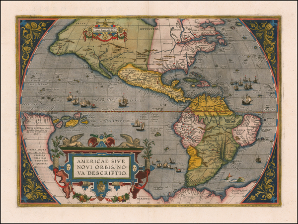 92-Western Hemisphere, North America, South America and America Map By Abraham Ortelius