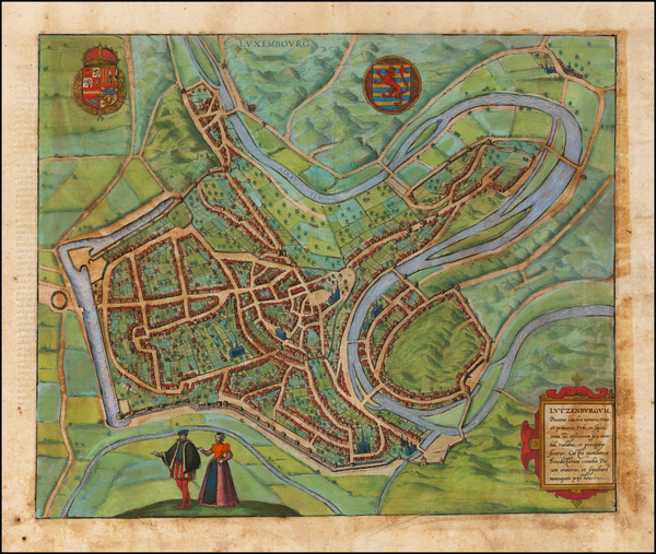 35-Luxembourg Map By Georg Braun  &  Frans Hogenberg