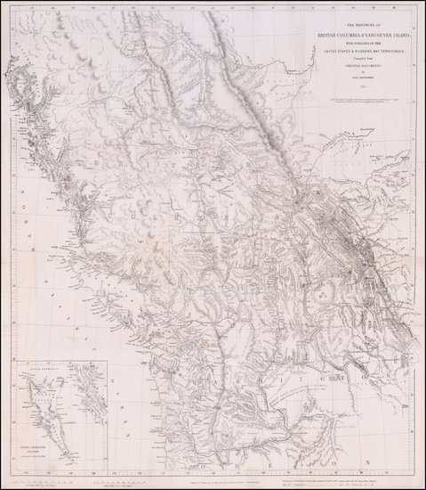 34-Idaho, Montana, Pacific Northwest, Oregon, Washington and Canada Map By John Arrowsmith