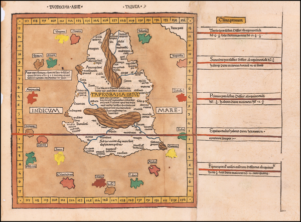 100-India and Sri Lanka Map By Claudius Ptolemy / Johann Reger