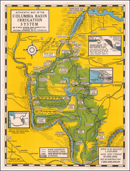 95-Washington and Pictorial Maps Map By Lindgren Brothers