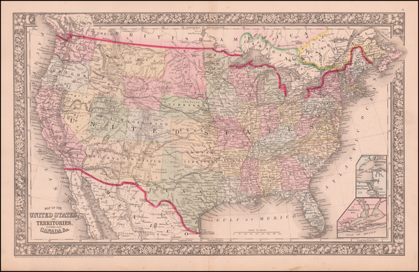 47-United States, North Dakota, South Dakota and Wyoming Map By Samuel Augustus Mitchell Jr.