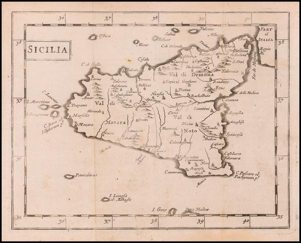 95-Sicily Map By Sir Jonas Moore