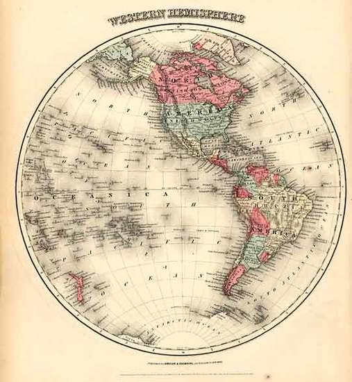 50-World, Western Hemisphere, South America and America Map By Joseph Hutchins Colton