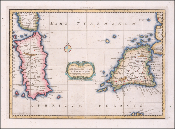 53-Sardinia and Sicily Map By  Gerard Mercator
