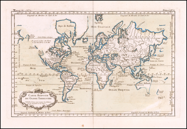 67-World Map By Jacques Nicolas Bellin