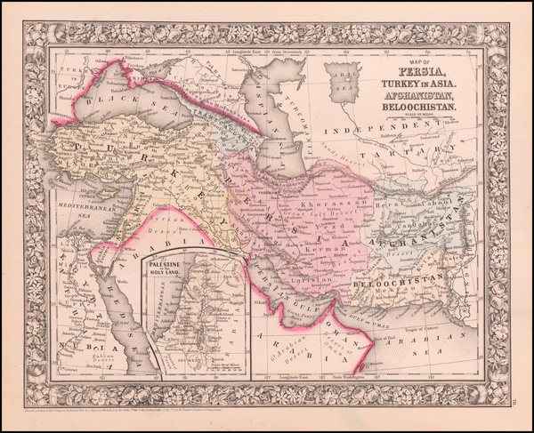 3-Korea, Central Asia & Caucasus, Persia and Turkey & Asia Minor Map By Samuel Augustus M