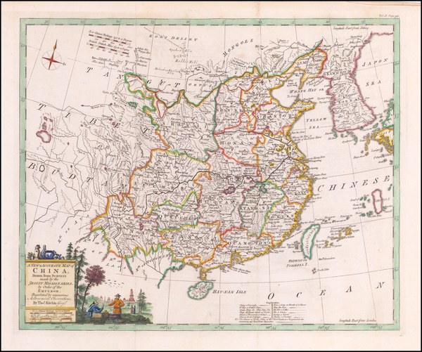 China and Korea Map By Emanuel Bowen