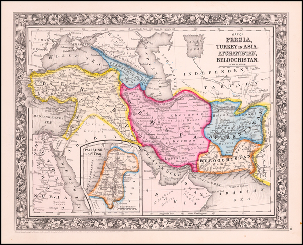 10-Korea, Central Asia & Caucasus, Persia and Turkey & Asia Minor Map By Samuel Augustus M