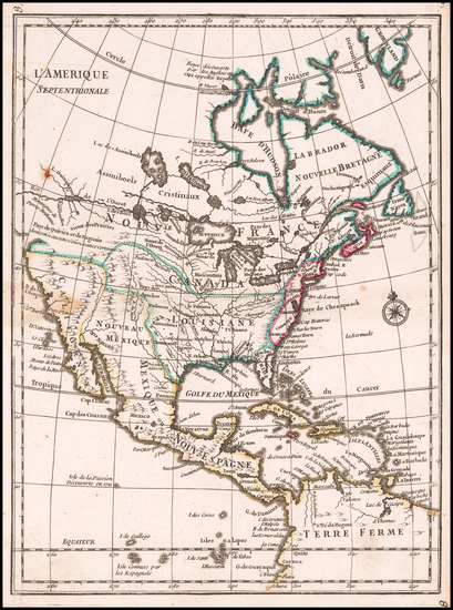 45-North America Map By Georges Louis Le Rouge