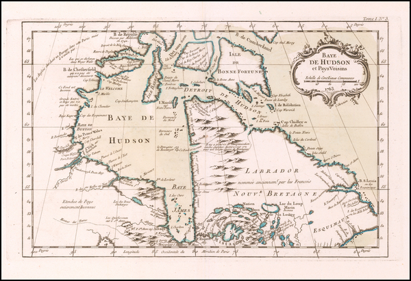 17-Canada Map By Jacques Nicolas Bellin