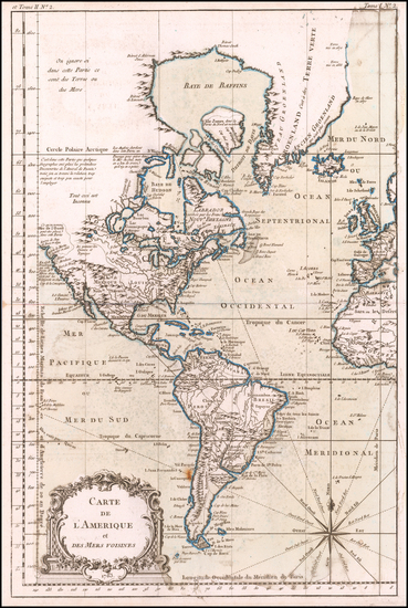 52-America Map By Jacques Nicolas Bellin