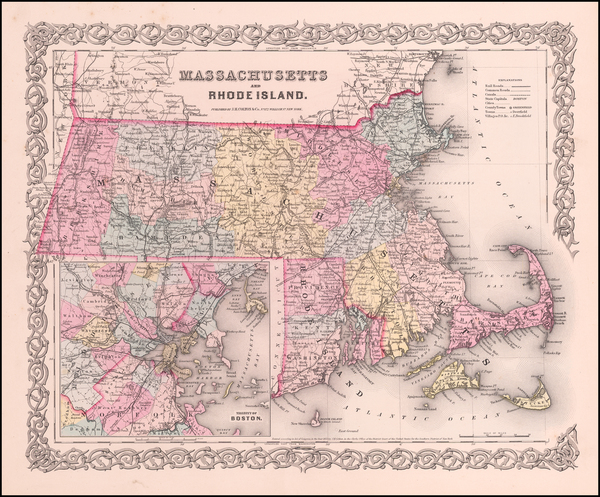 8-New England, Massachusetts and Rhode Island Map By Joseph Hutchins Colton