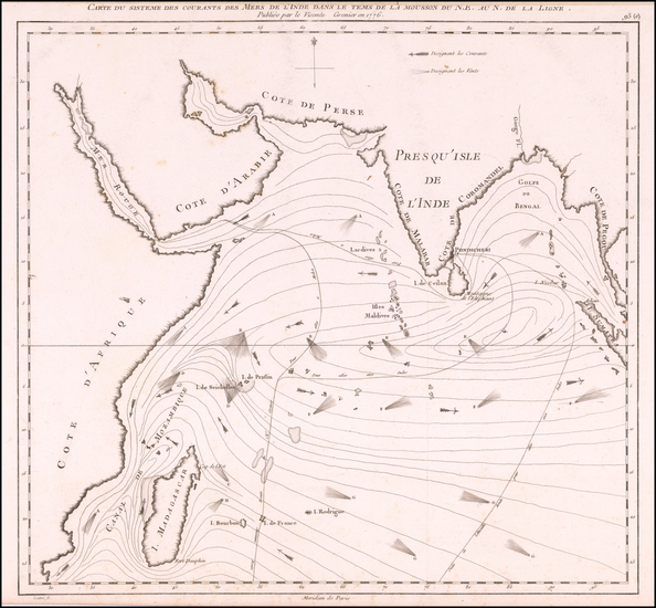 0-Indian Ocean and India Map By Jacques Raymond Giron de  Grenier