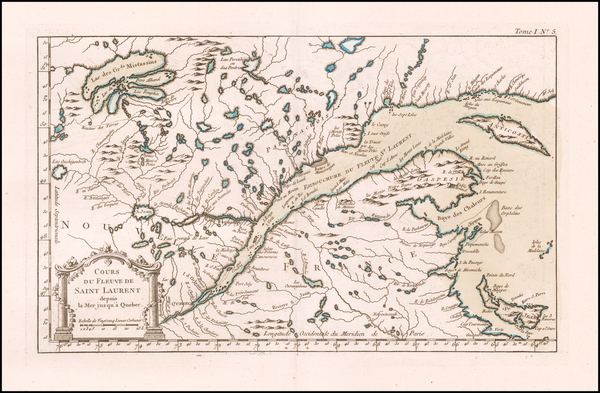52-Canada Map By Jacques Nicolas Bellin