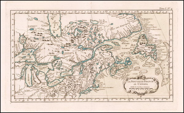 54-Midwest and Canada Map By Jacques Nicolas Bellin