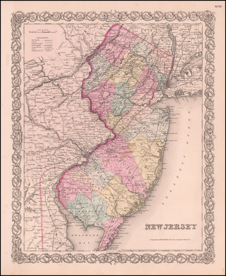 85-New Jersey Map By Joseph Hutchins Colton