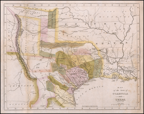 82-Texas and Rare Books Map By William Hooker