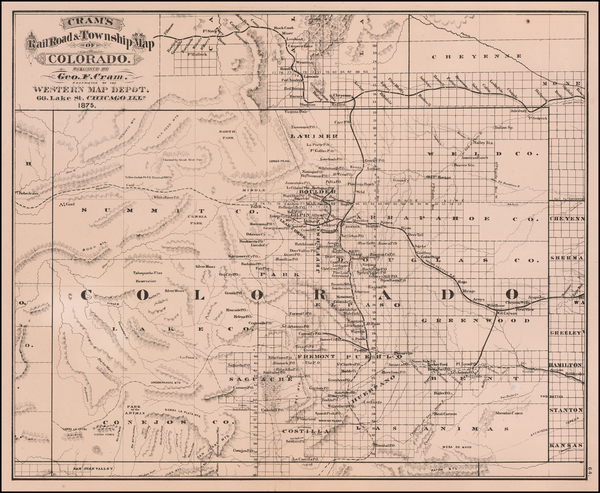 86-Colorado and Colorado Map By George F. Cram