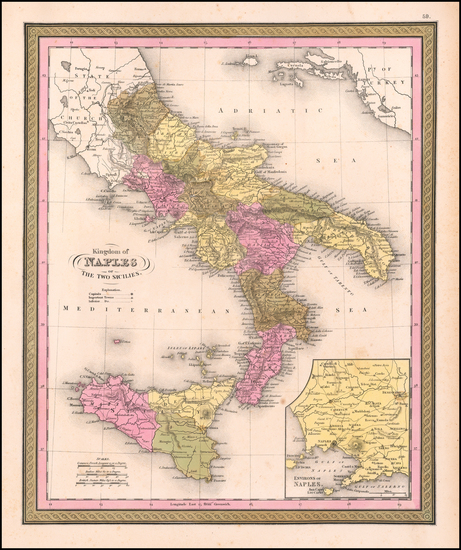 65-Italy and Southern Italy Map By Samuel Augustus Mitchell