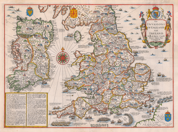 44-British Isles, England and Ireland Map By John Speed