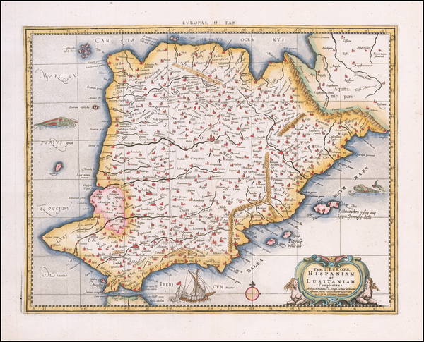 76-Spain and Portugal Map By  Gerard Mercator