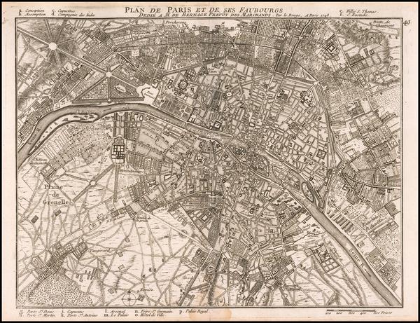 74-Paris Map By Georges Louis Le Rouge