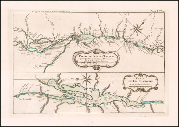 56-New England, Vermont, New York State and Canada Map By Jacques Nicolas Bellin