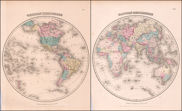 7-World and World Map By Joseph Hutchins Colton