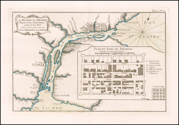 42-Michigan Map By Jacques Nicolas Bellin