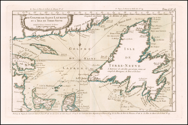 70-Canada Map By Jacques Nicolas Bellin