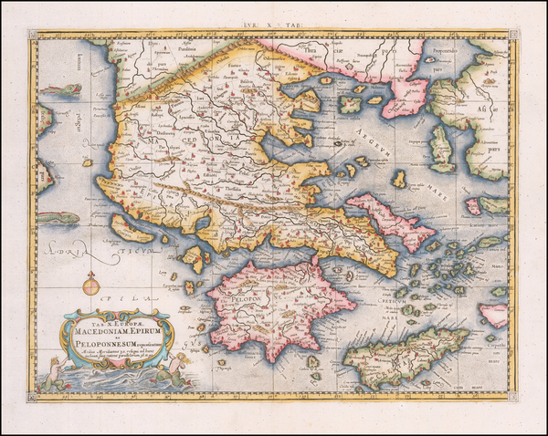 75-Greece Map By Gerhard Mercator