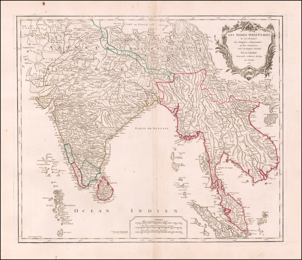 70-India, Southeast Asia, Malaysia and Thailand Map By Gilles Robert de Vaugondy