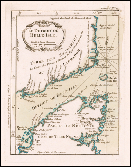 1-Canada Map By Jacques Nicolas Bellin