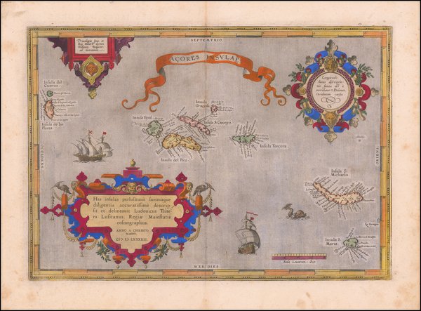 26-Atlantic Ocean and Portugal Map By Abraham Ortelius
