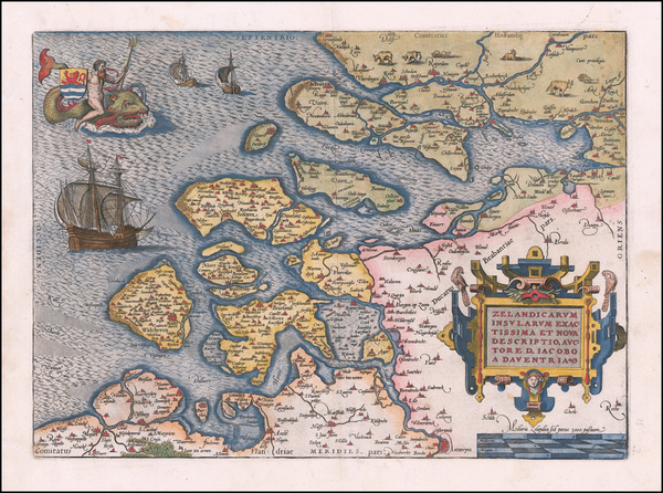 Netherlands Map By Abraham Ortelius