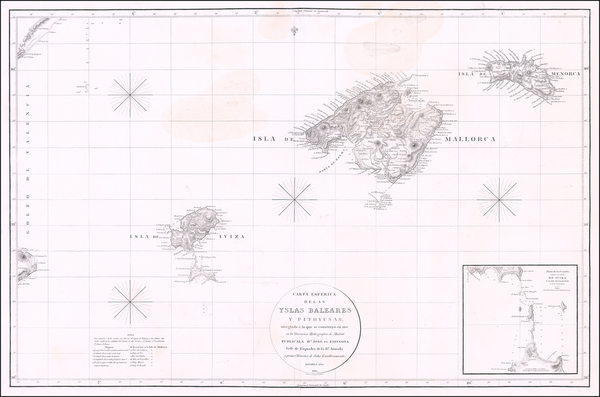 30-Balearic Islands Map By Jose de Espinosa y  Tello