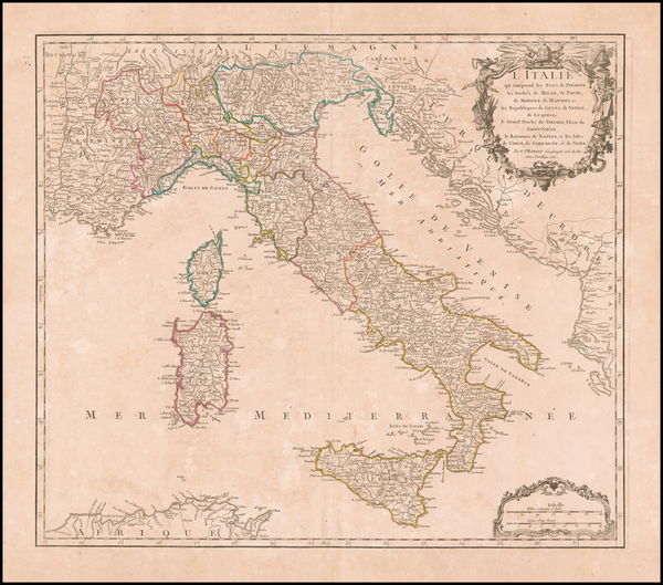 80-Italy Map By Didier Robert de Vaugondy
