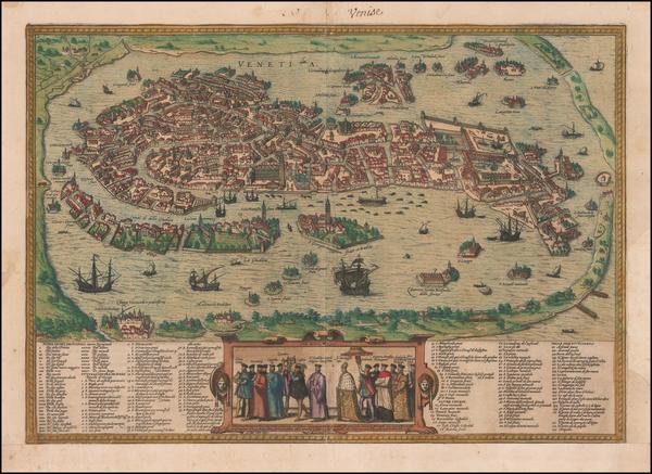 62-Venice Map By Georg Braun  &  Frans Hogenberg