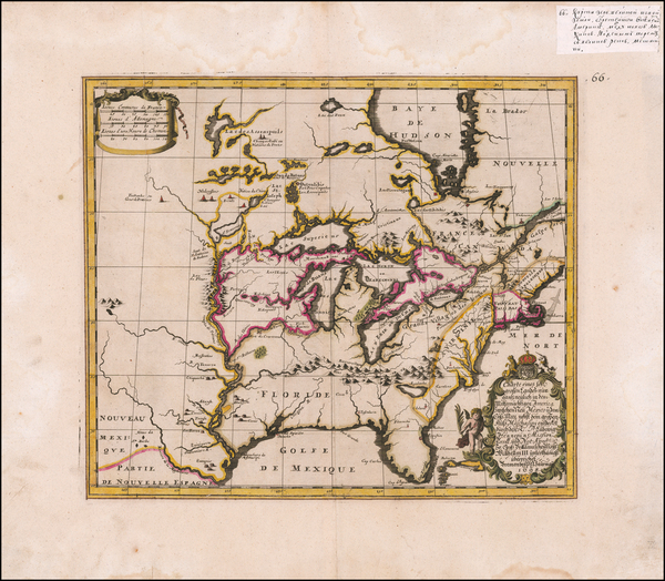 64-United States, South, Midwest and North America Map By Louis de Hennepin / Philip Gottfried Sau