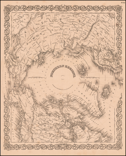 64-Northern Hemisphere and Polar Maps Map By Joseph Hutchins Colton